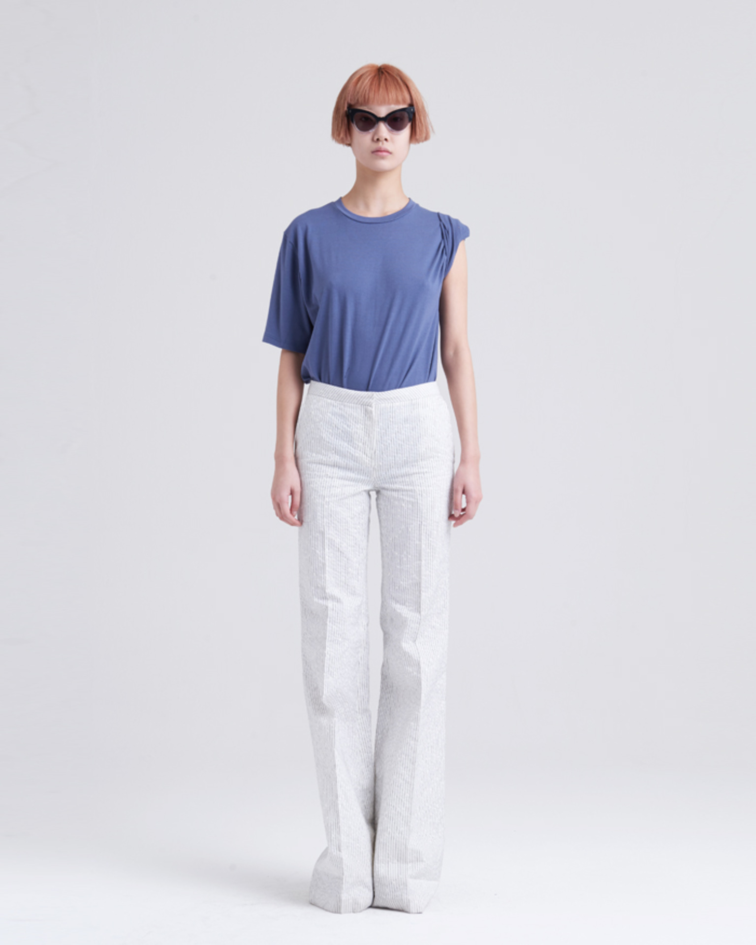 POM-POM STRIPE LONG PANTS