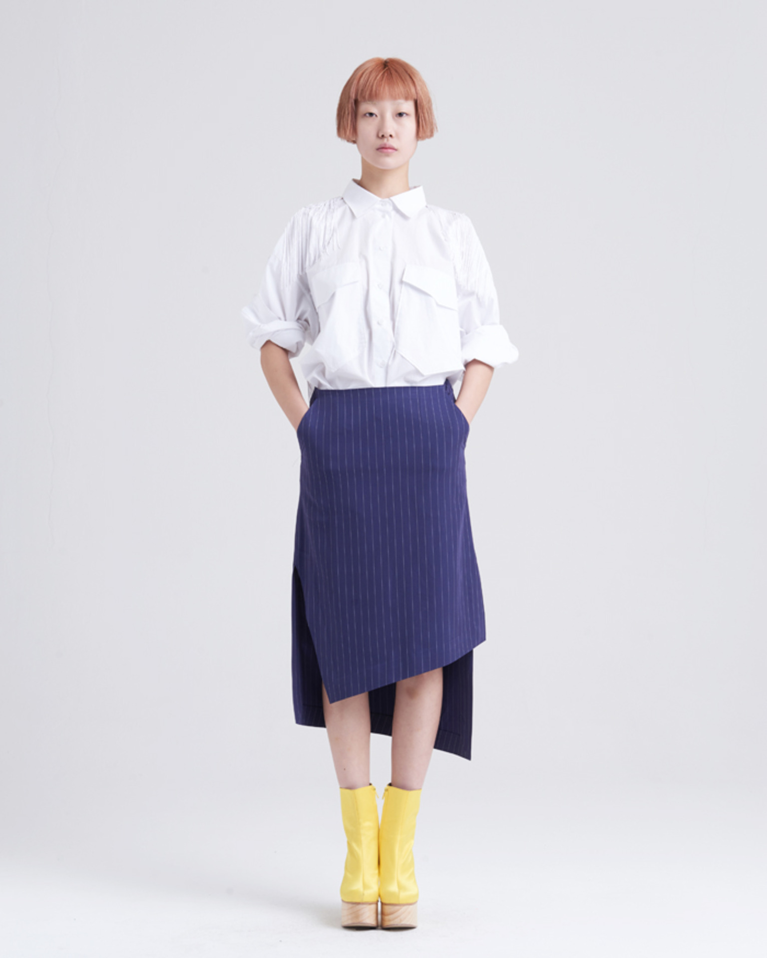 UNBALANCE STRIPE SKIRT