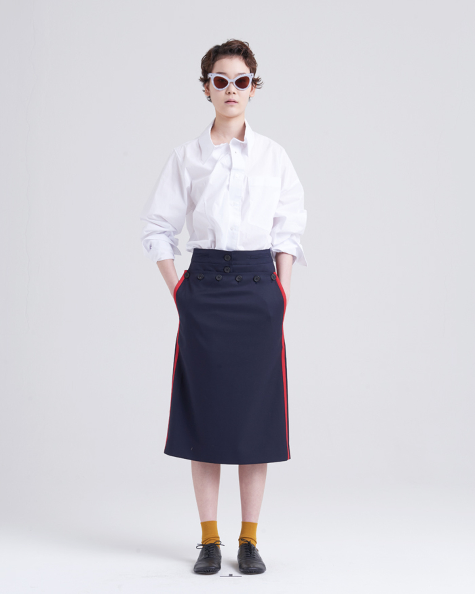 BACK LACE-UP MARINE SKIRT