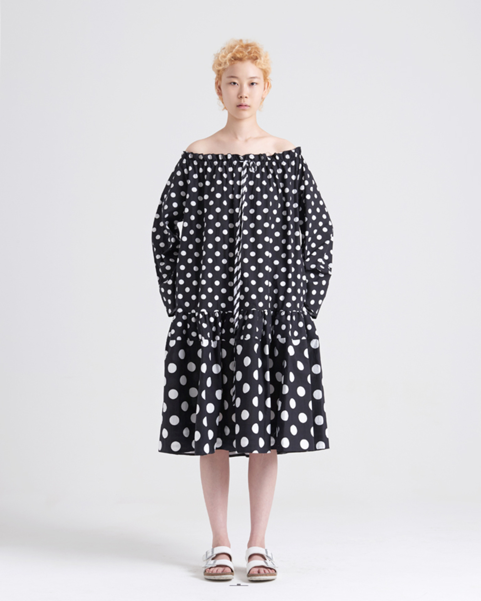 MULTI DOT OFF SHOULDER DRESS