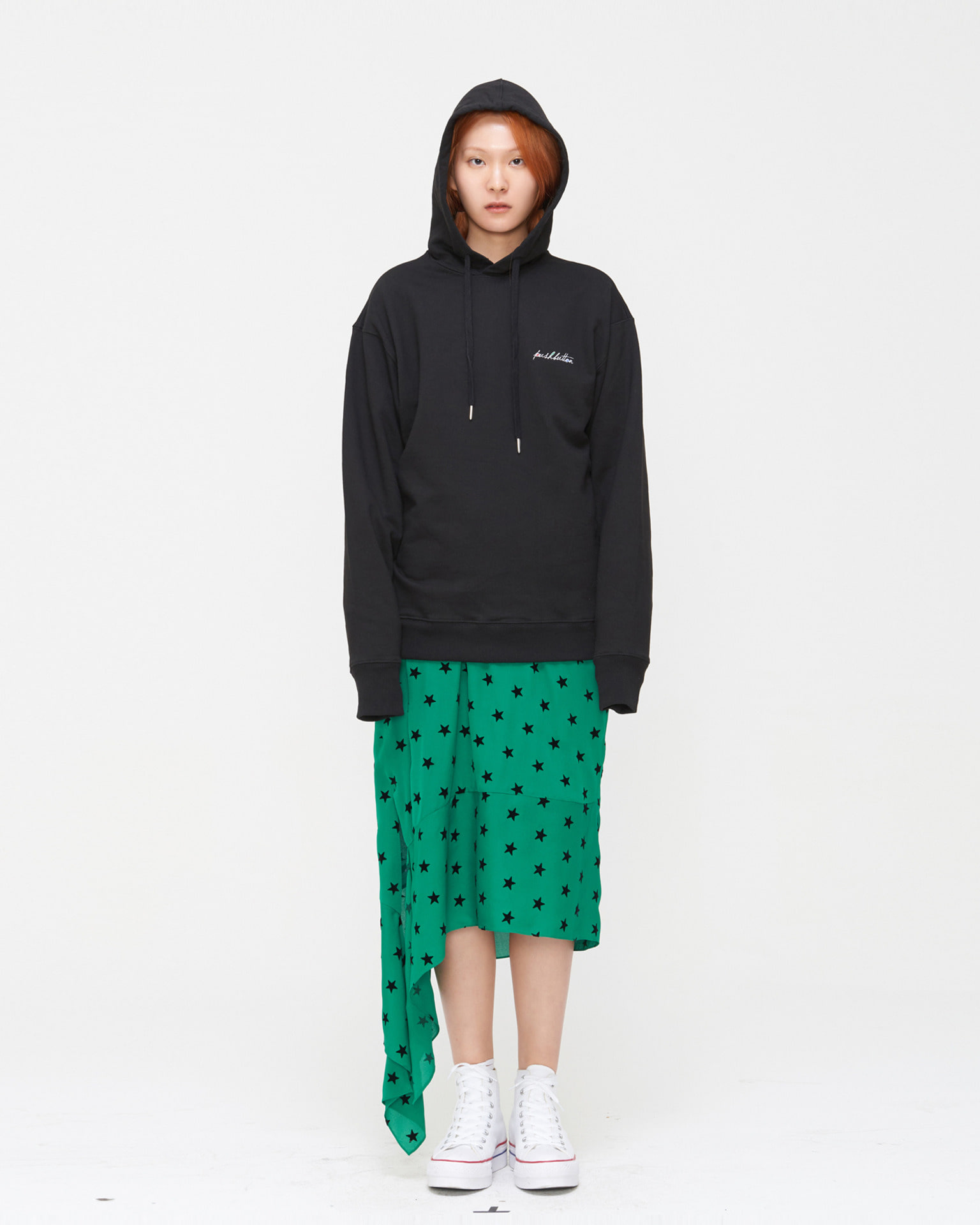 PUSHBUTTON NEEDLEPOINT SWEAT HOODY