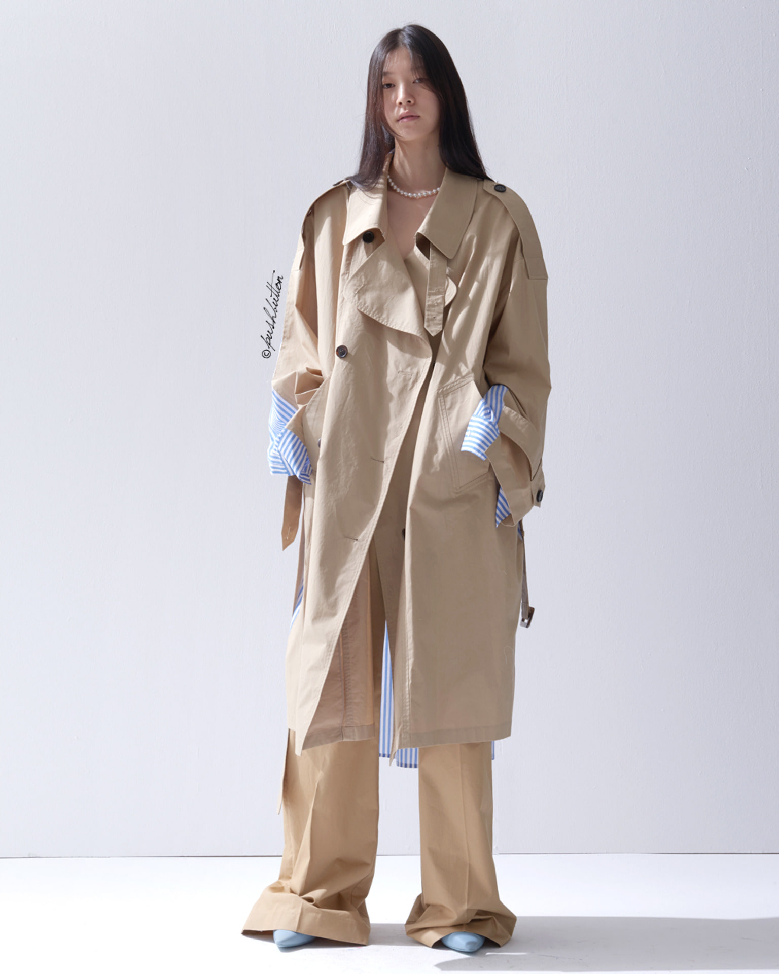 SHIRT BACK COMBINATION TRENCH COAT