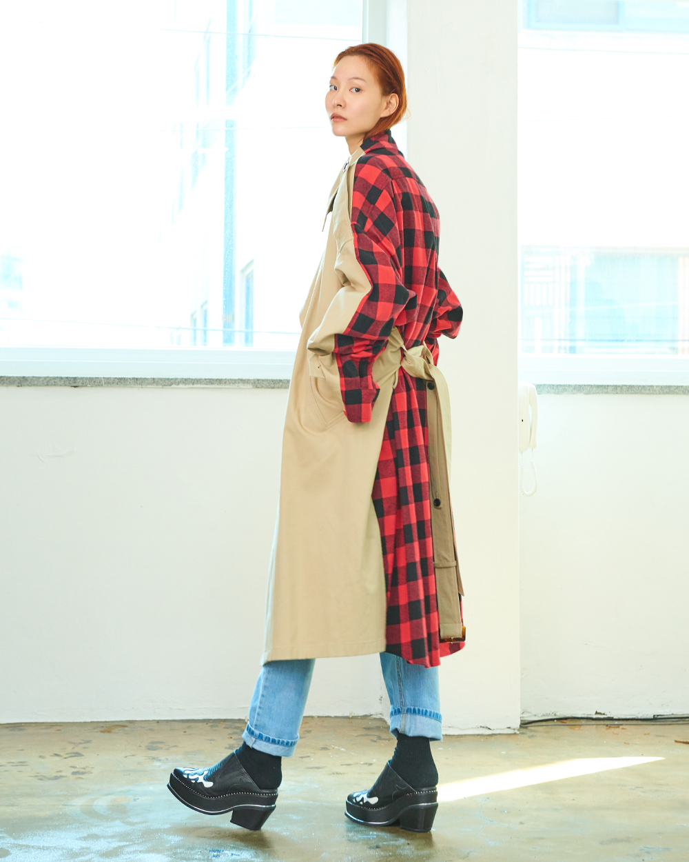 SHIRT COMBI TRENCH COAT