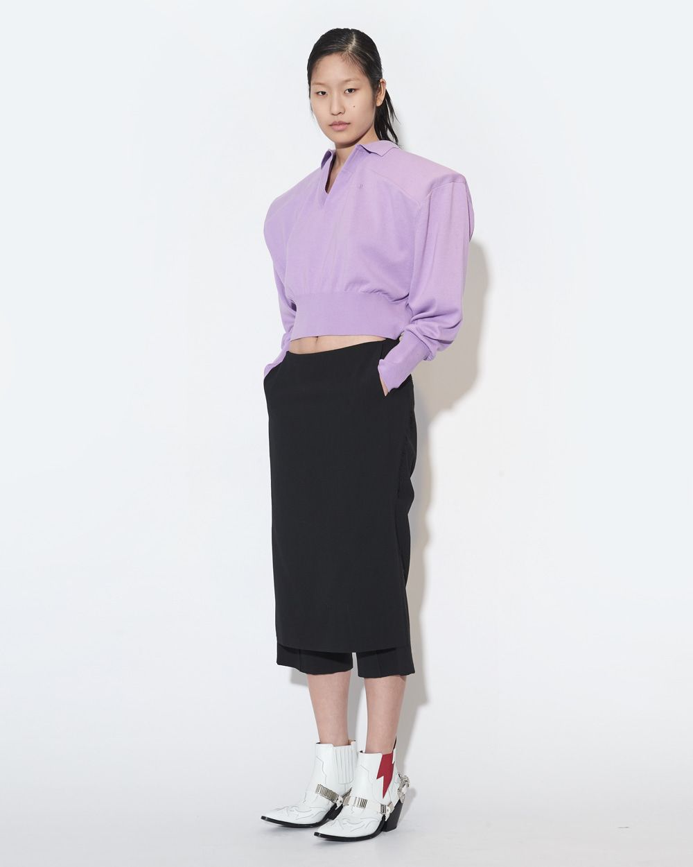 SKIRT COVERED HALF WOOL SHORTS