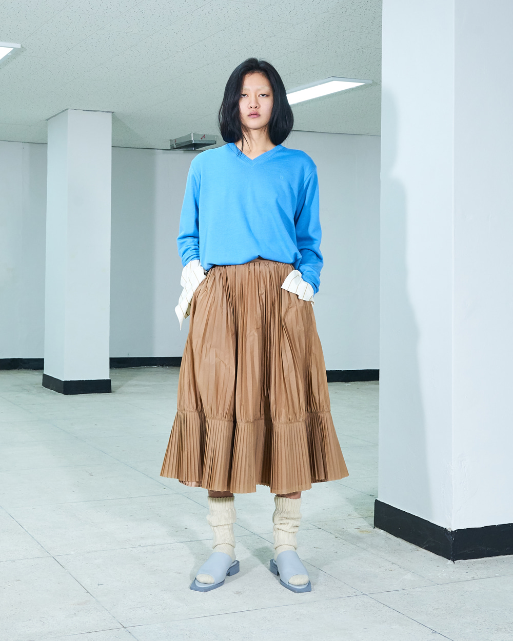 PF19 PLEATS COMBI SKIRT