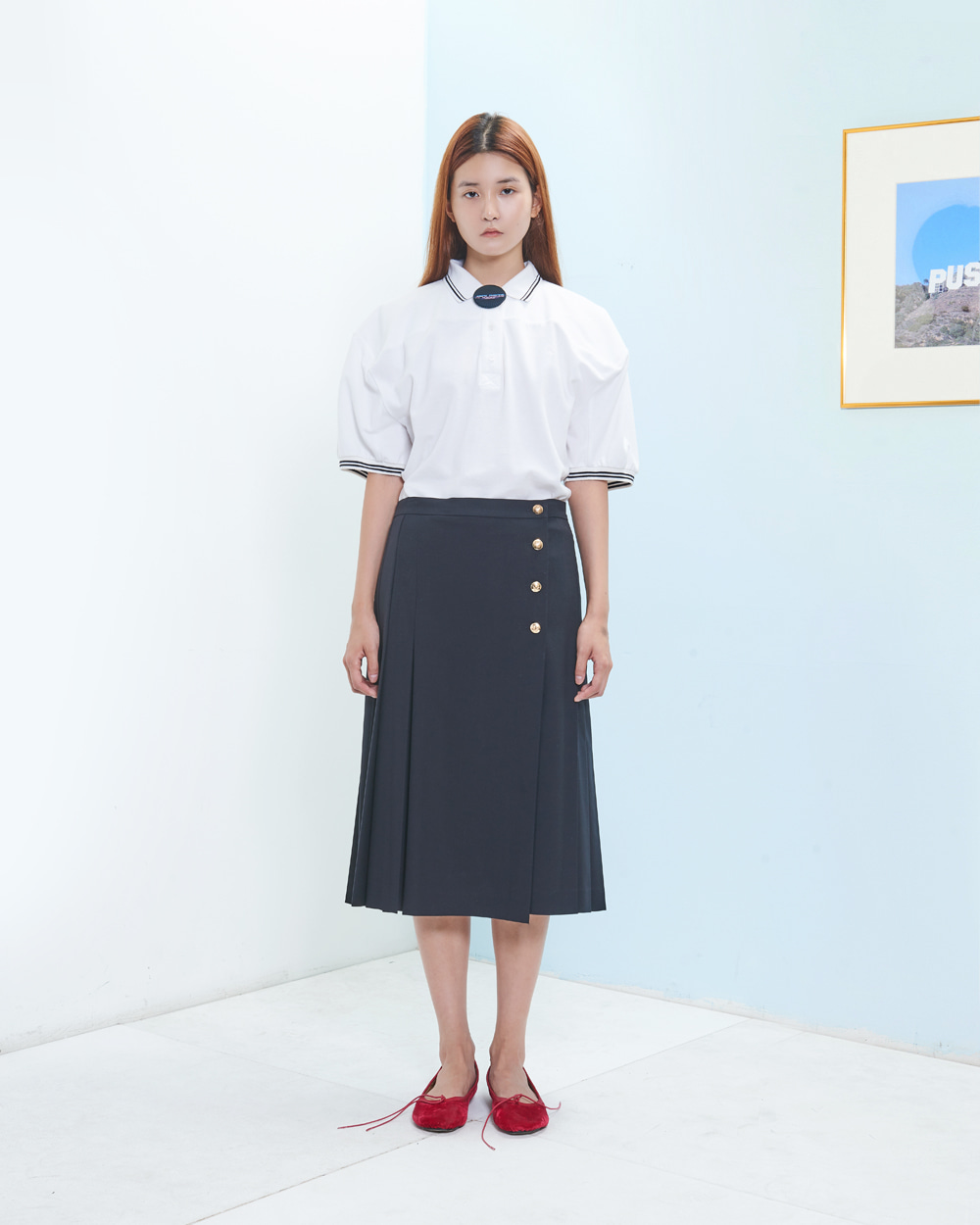 PF19 WRAP PLEATS MIDDY-SKIRT