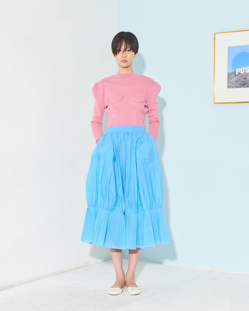 PF19 PUFF SLEEVED BUSTIER KNIT TOP