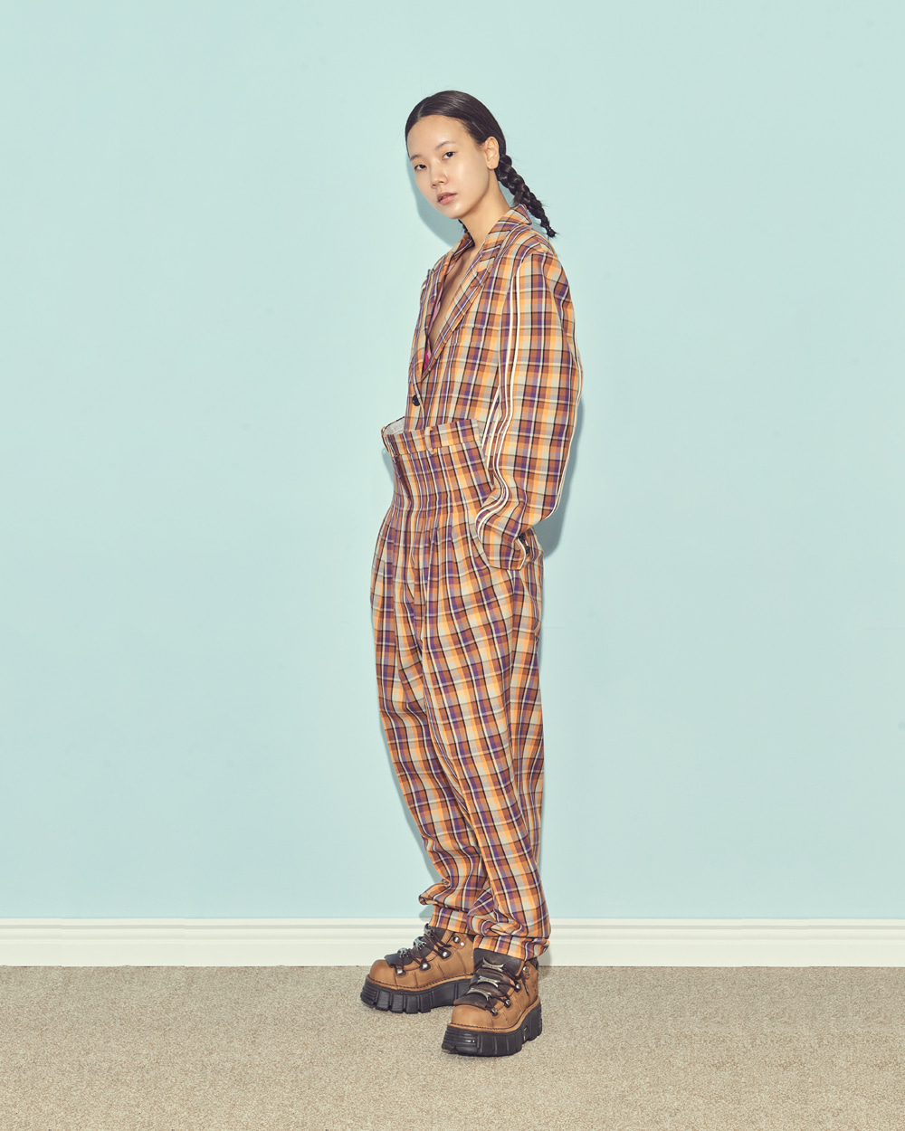FW19 FRONT-UP PINTUCK CHECK PANTS