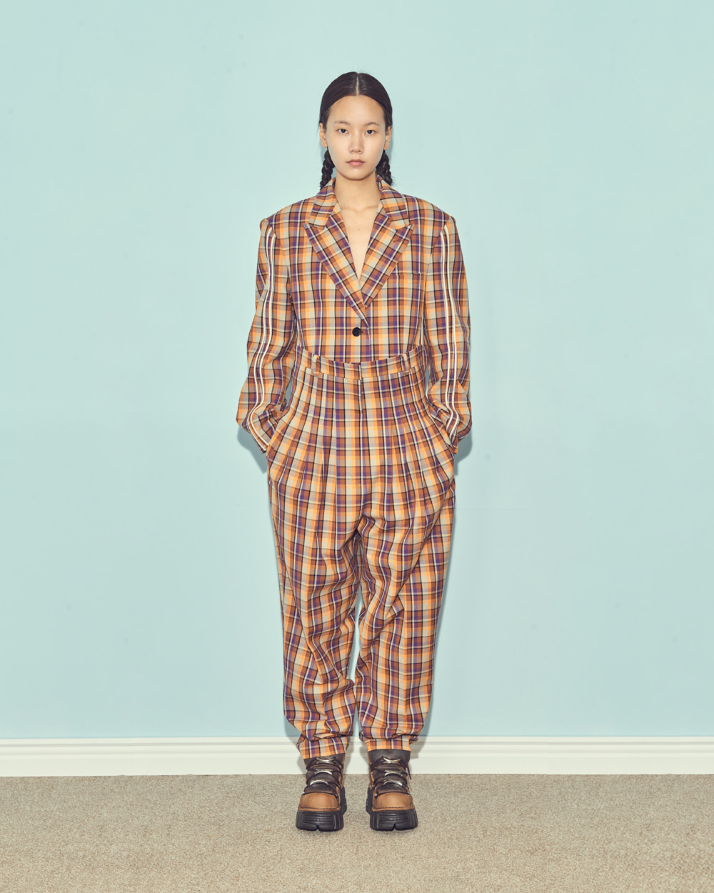 FW19 UNIQUE BINDING CHECK JACKET