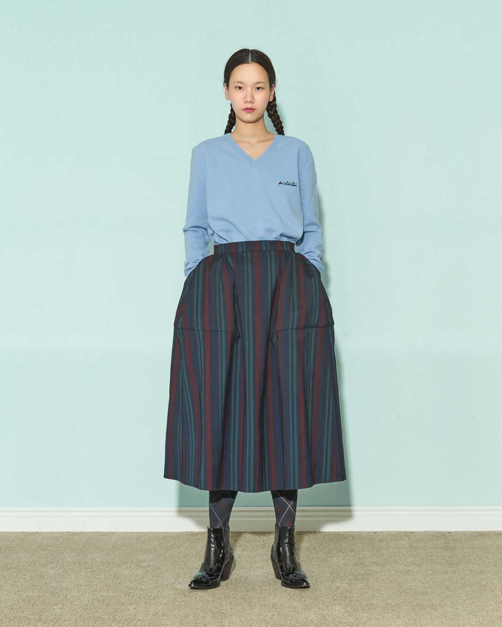 FW19 POUF STRIPE SKIRT