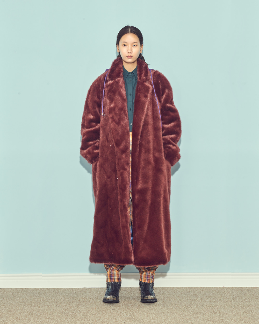 HOODY FAUX FUR COAT