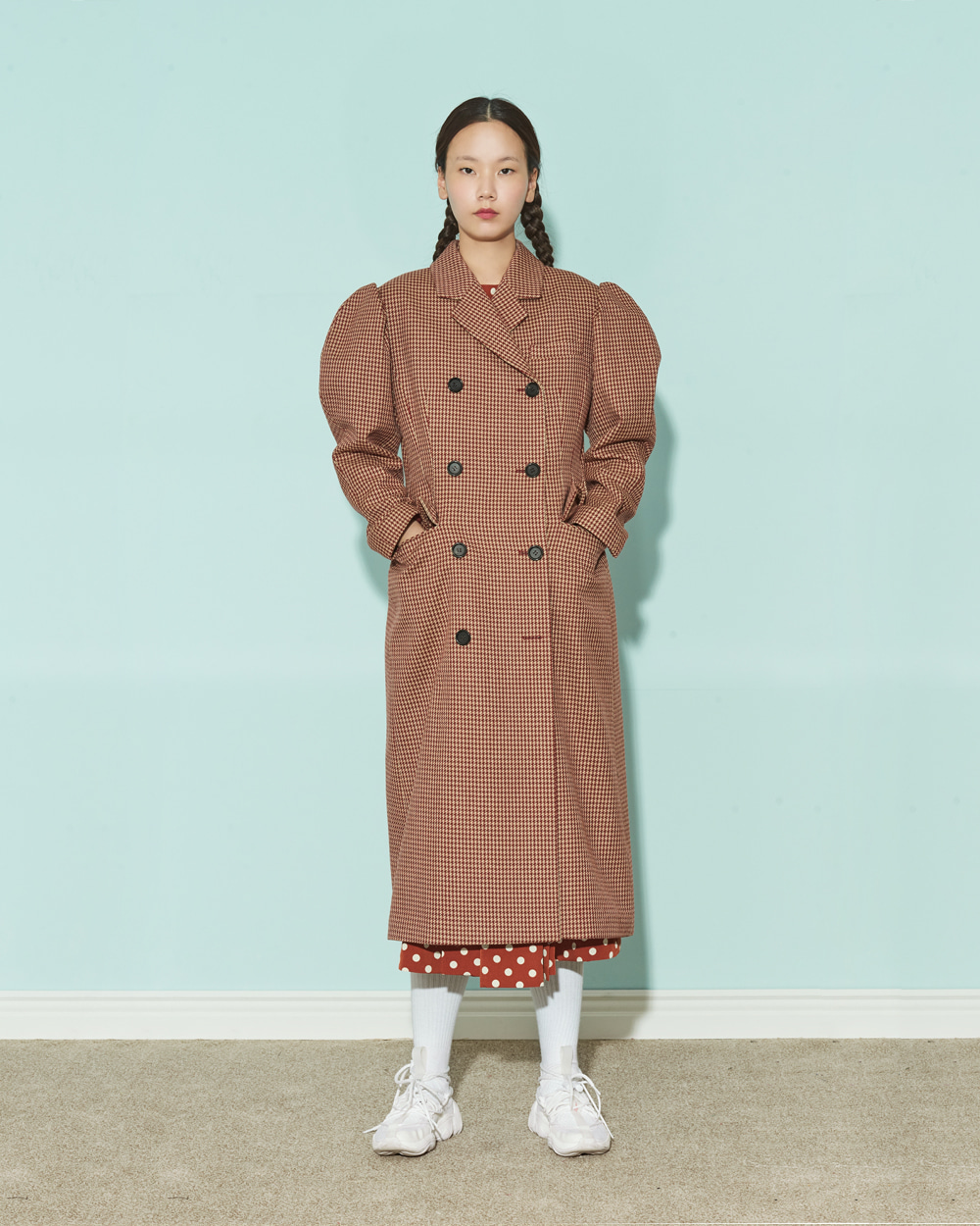 PUFF SLEEVES SLIM WINE CHECK COAT