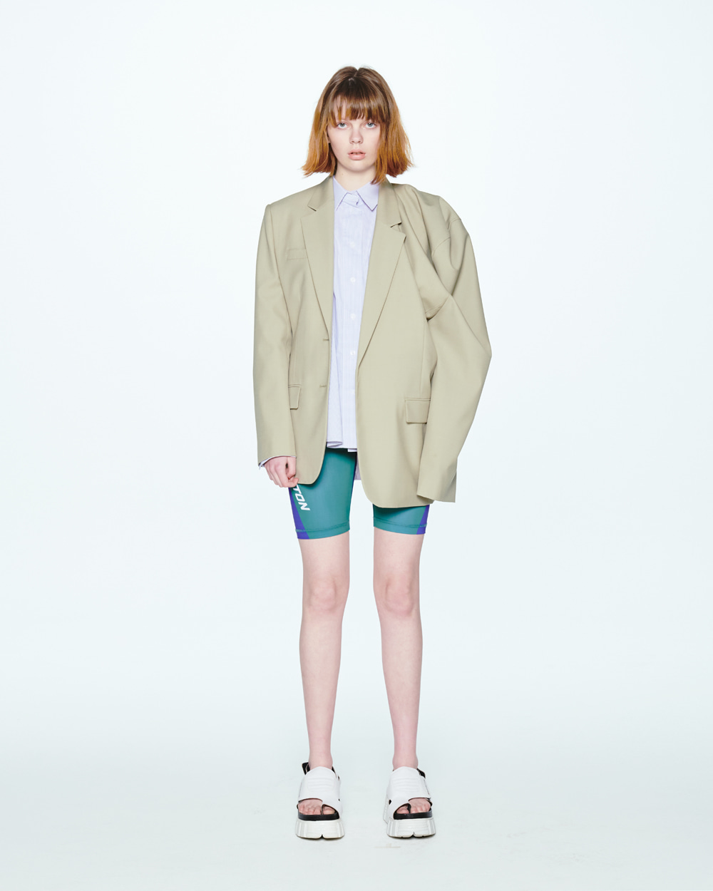 SS20 UNBALANCED SHOULDER KHAKI JACKET