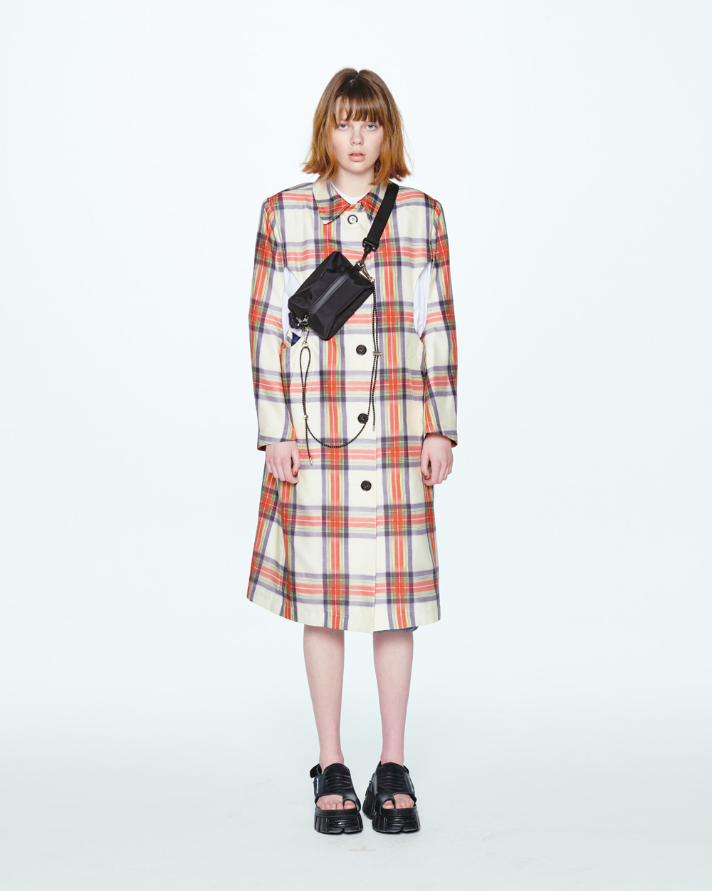 SS20 CUTOUT SINGLE CHECK COAT