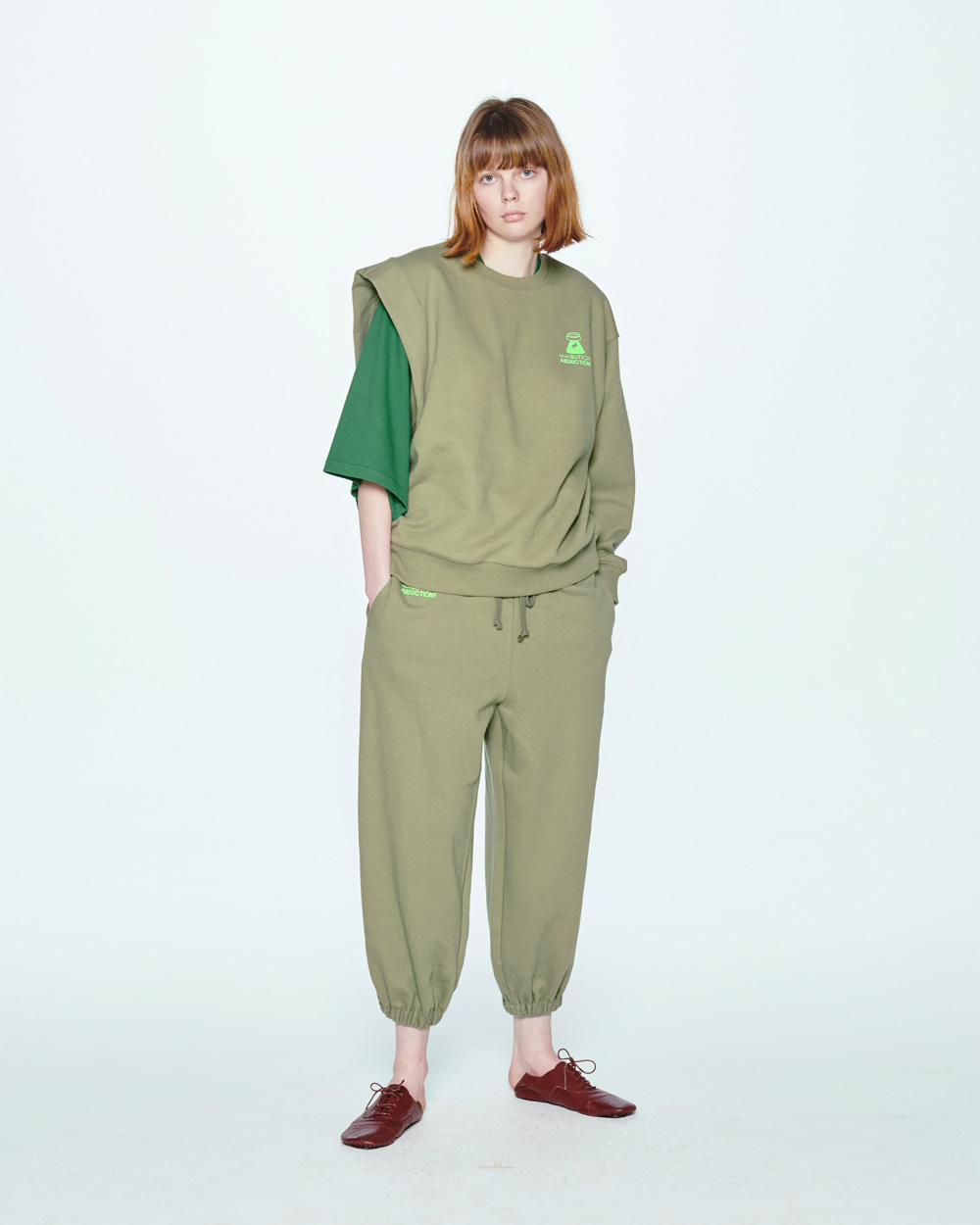 SS20 UNBALANCE SLEEVEED KHAKI SWEAT SHIRT