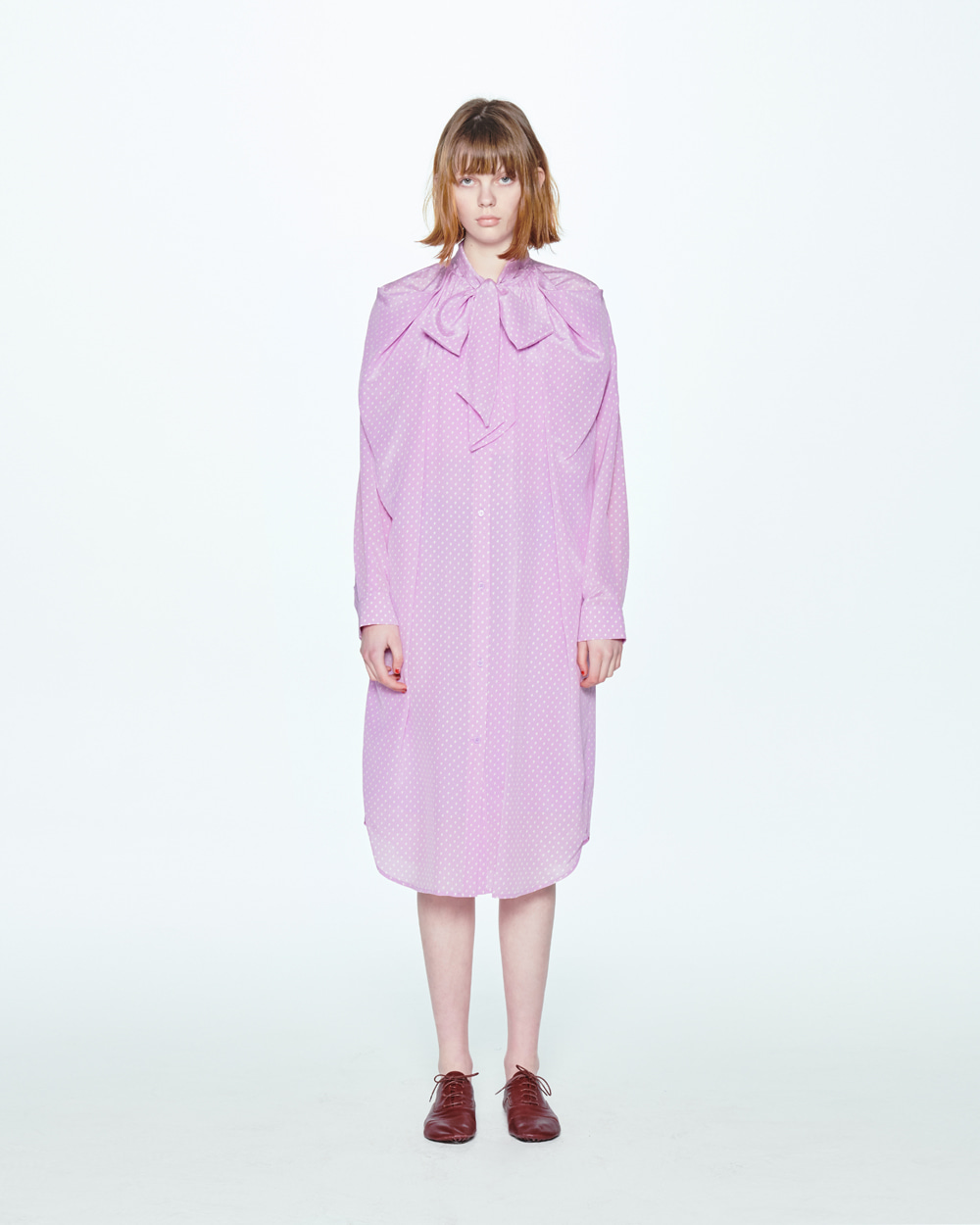 RIBBON NECK VIOLET SHIRT DRESS