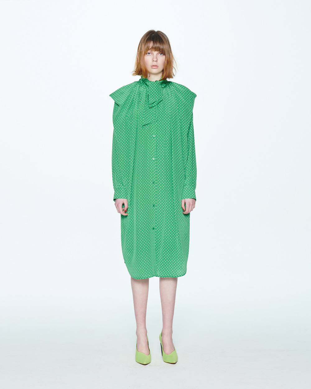 RIBBON NECK GREEN SHIRT DRESS