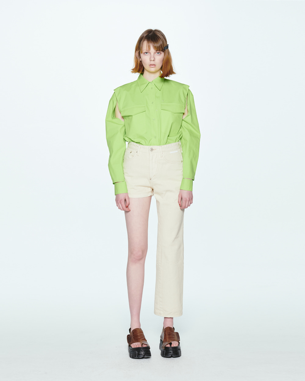 SS20 CUTOUT LIME SHIRT