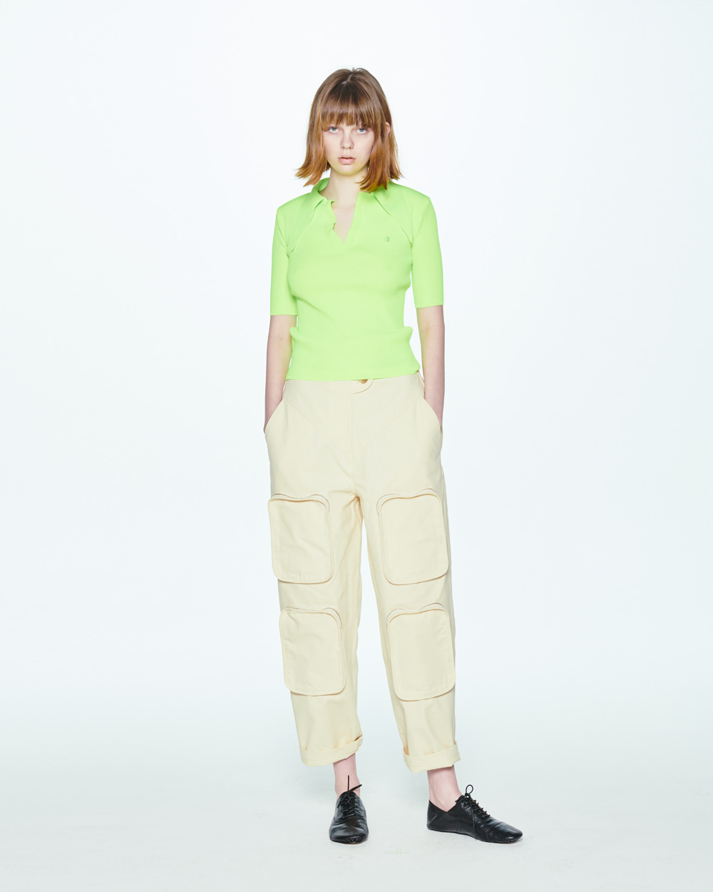 SS20 POINTY COLLAR LIME PULLOVER