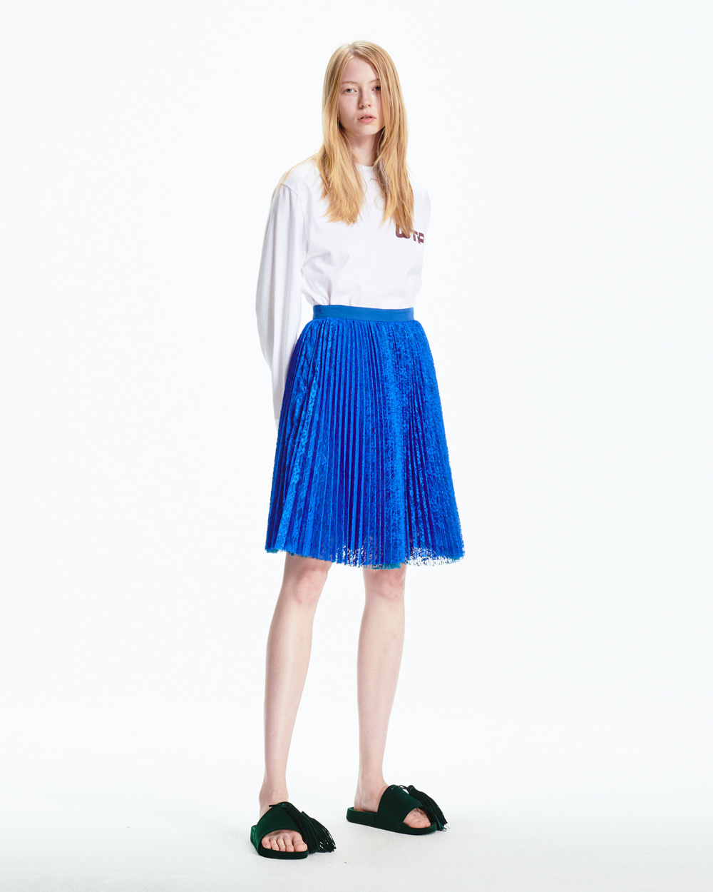 PF20 SHEER LACE PLEATS SKIRT