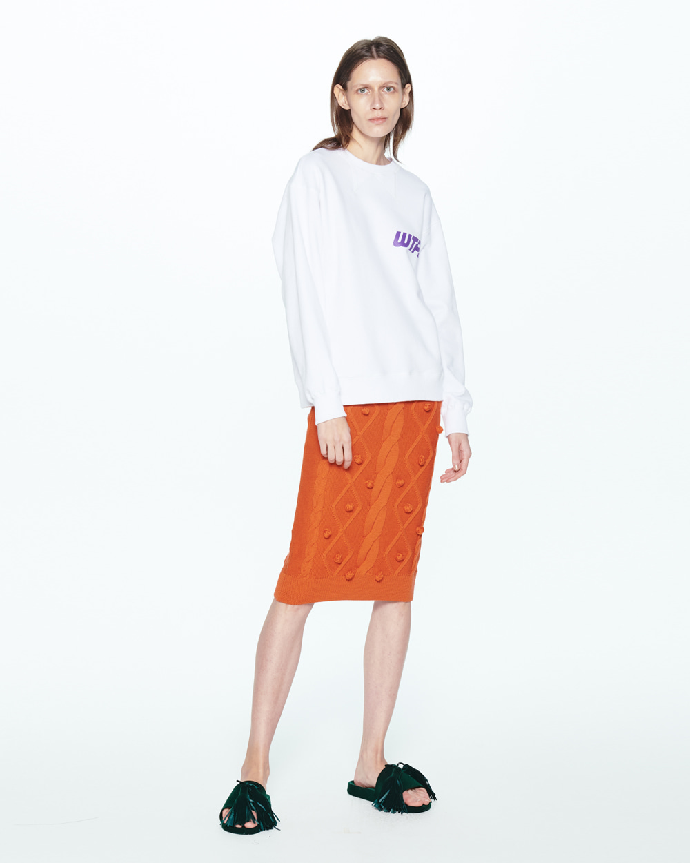 PF20 POMPOM CABLE KNIT SKIRT