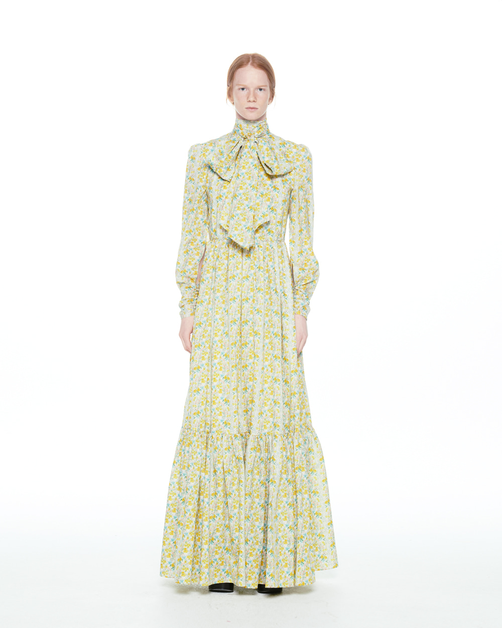 FW20 RIBBON COLLAR FLORAL LONG DRESS