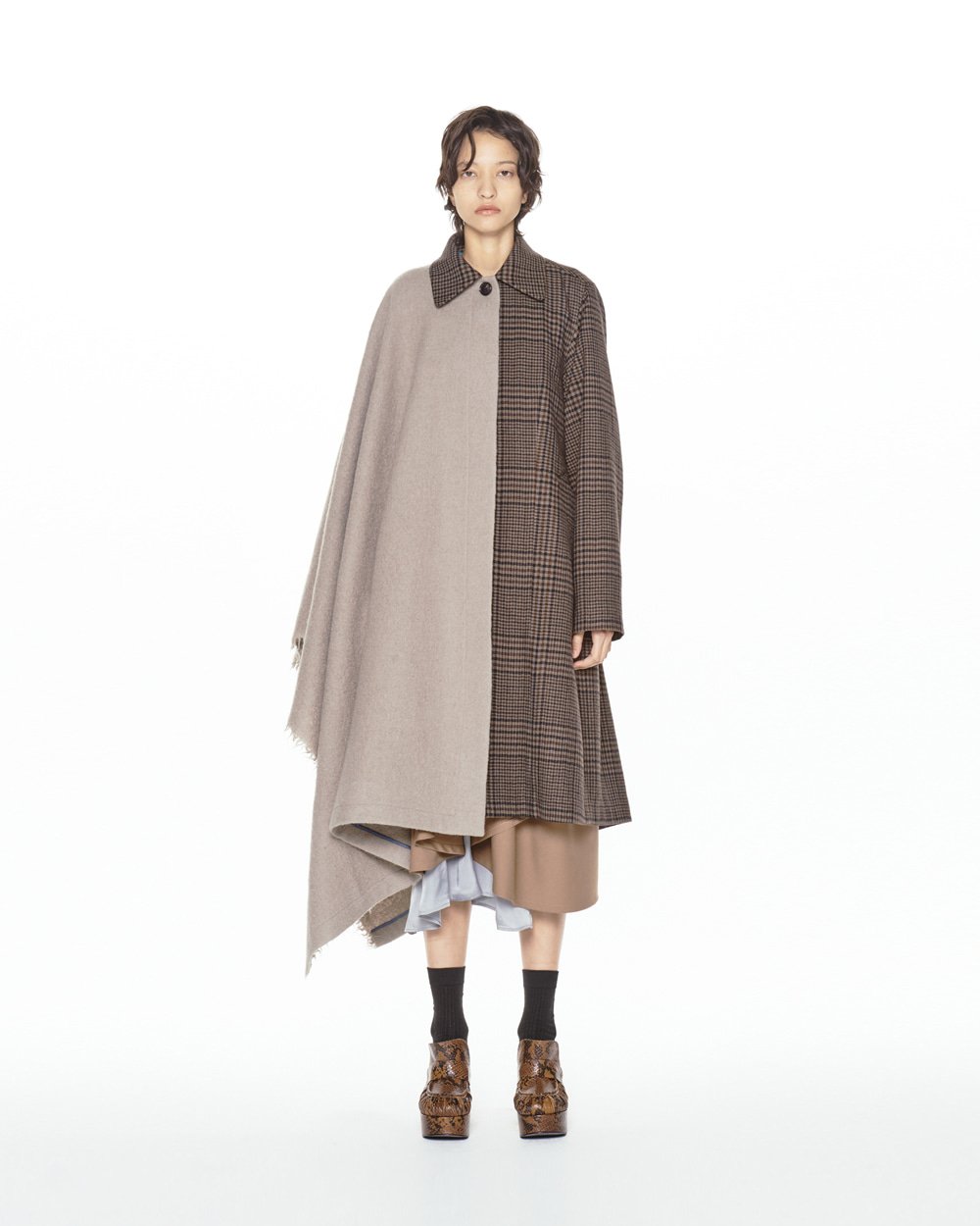 FW20 HALF CAPE CHECK COAT