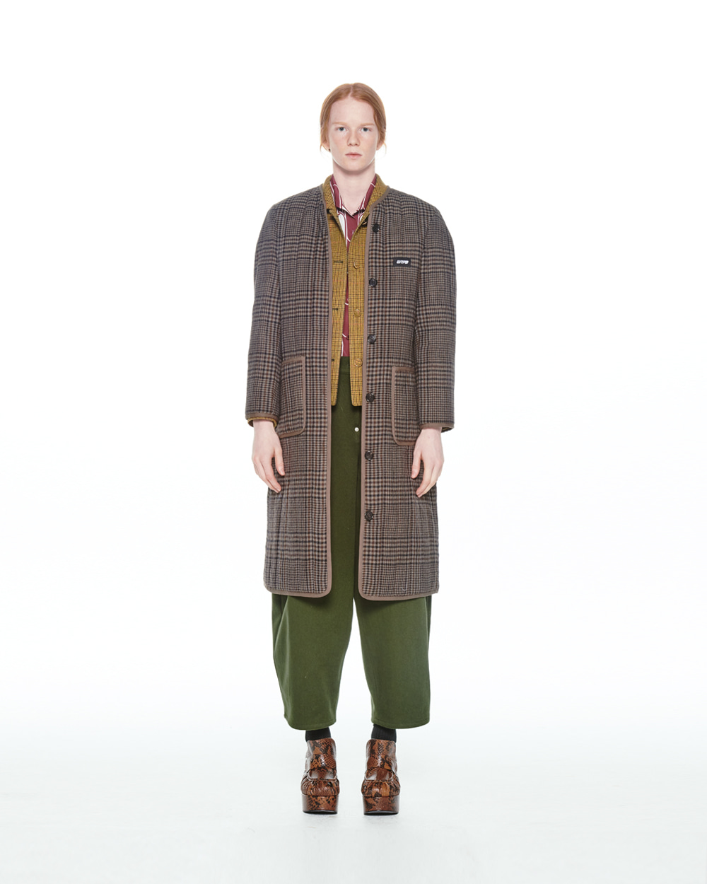 FW20 QUILTED BUTTON DOWN CHECK COAT