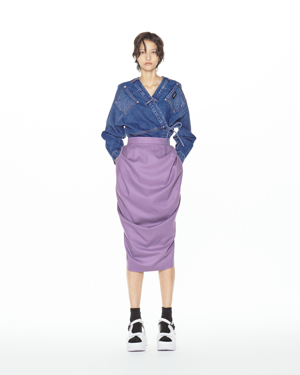 FW20 MIDI BALLOON VIOLET SKIRT