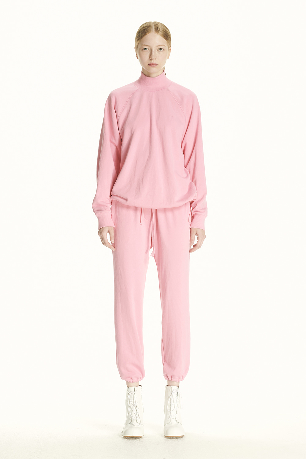 PS21 DRAWSTRING MOCK-NECK PINK SWEATSHIRT