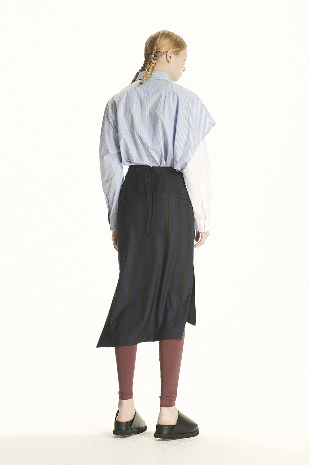 PS21 STRIPE ASYMMETRICAL SKIRT