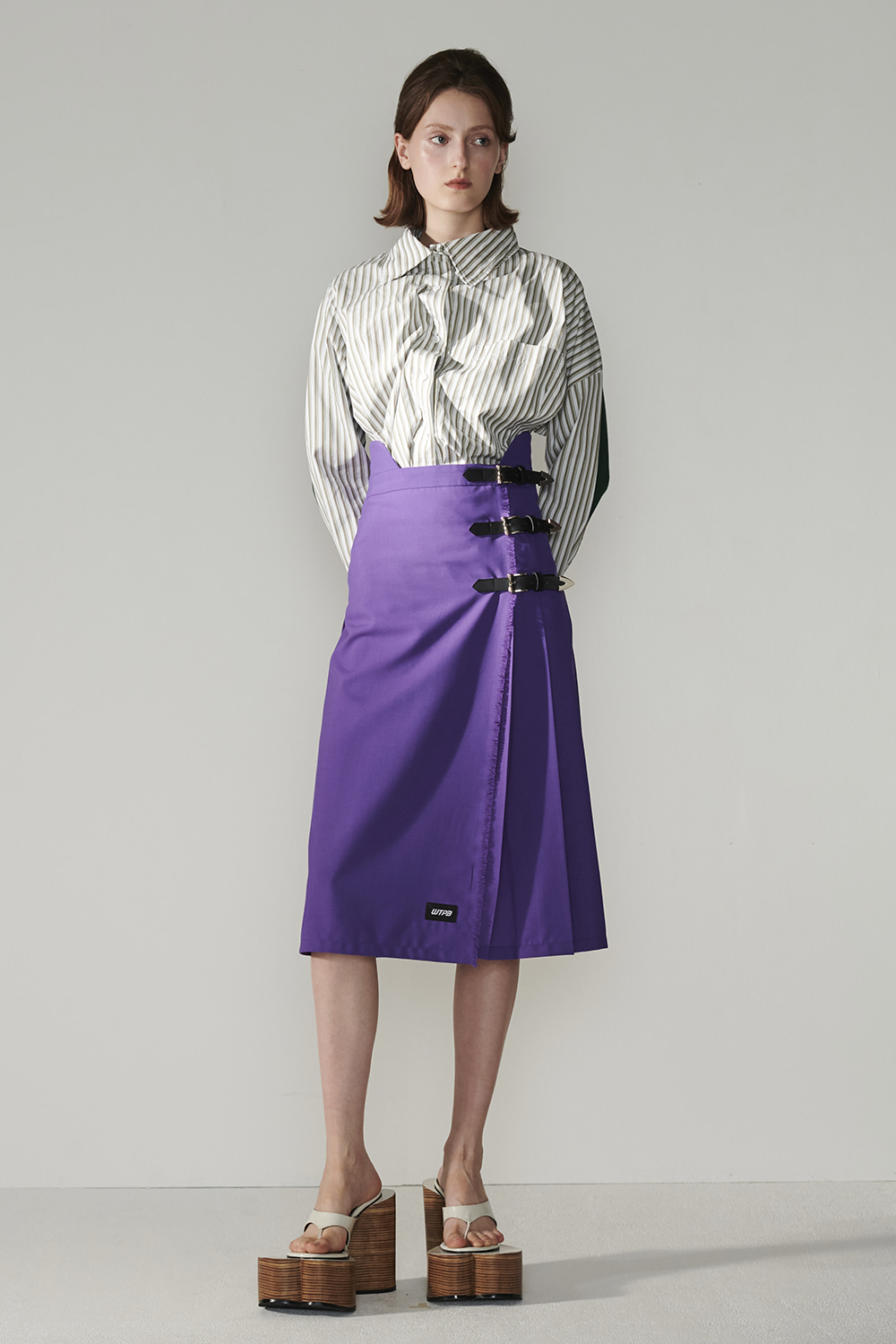 SS21 WRAP OVER BELTED VIOLET SKIRT