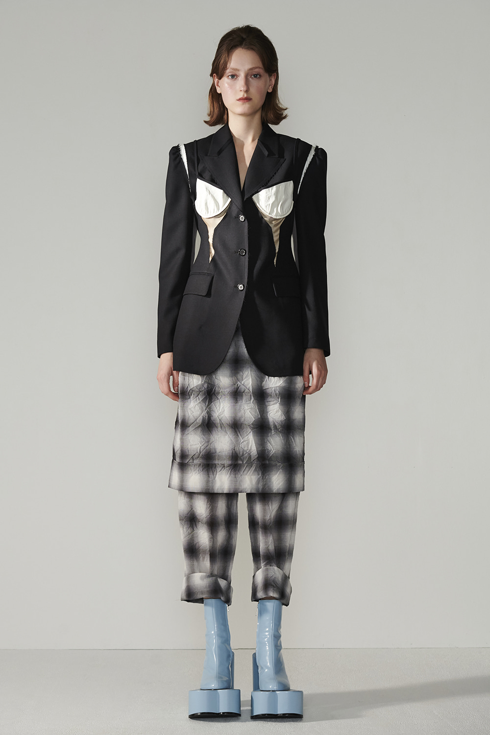 SS21 FRONT SKIRT LAYERED CHECK PANTS
