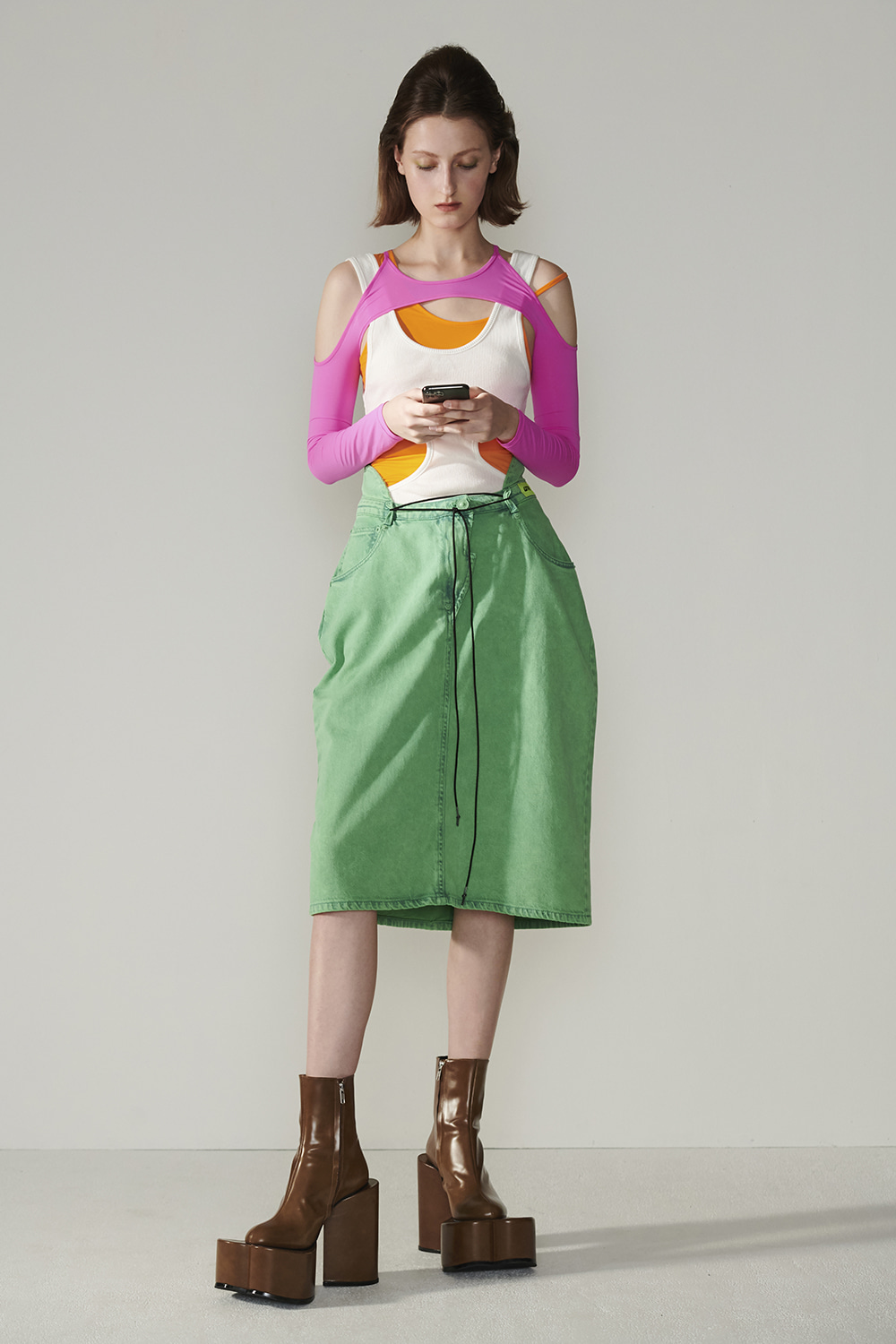 SS21 BACK-UP GREEN SKIRT