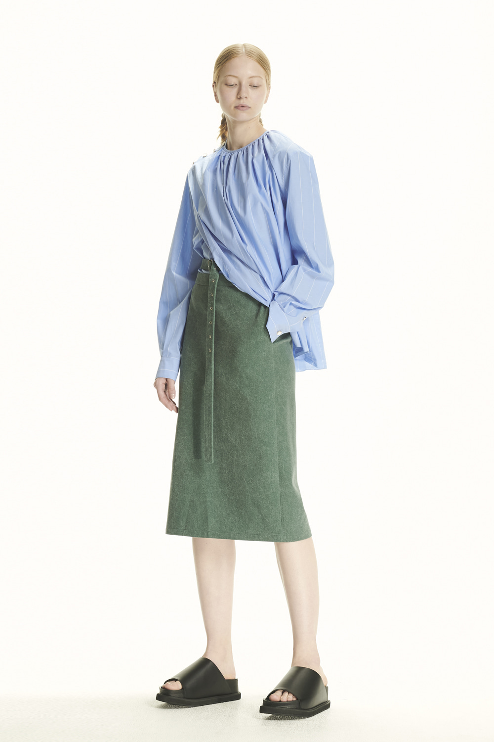 PS21 BELTED DETAIL GREEN MIDI SKIRT