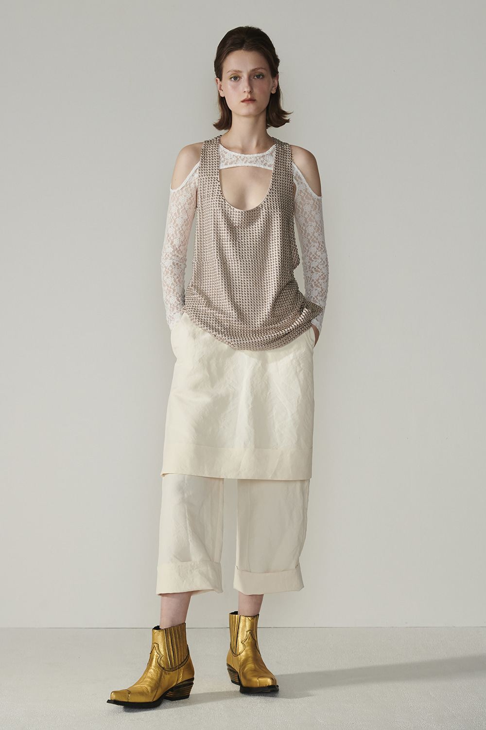 SS21 FRONT SKIRT LAYERED IVORY PANTS