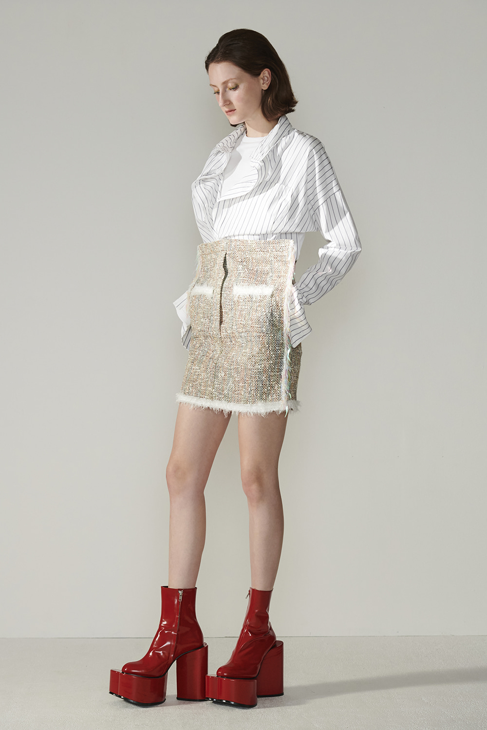 SS21 FRONT-UP MINI TWEED SKIRT