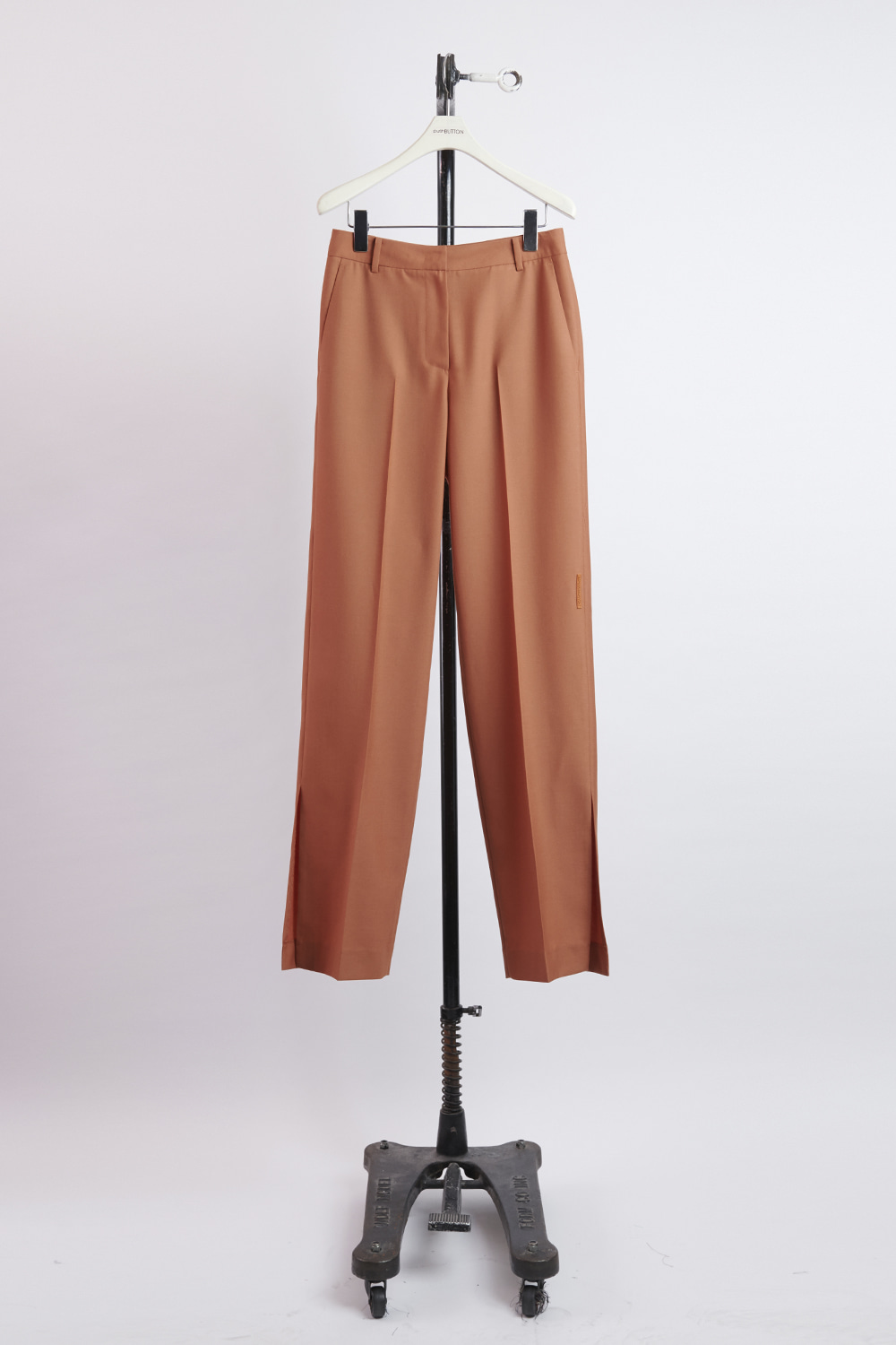 HS21 BROWN SLIT HEM TROUSERS