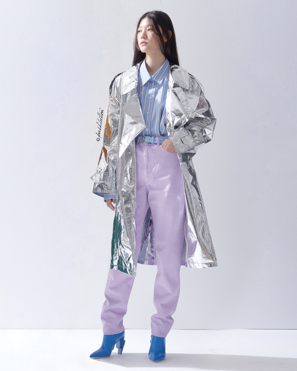 METALLIC SILVER TRENCH COAT