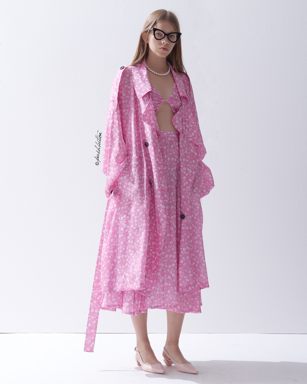 FLORAL PRINTING TRENCH COAT