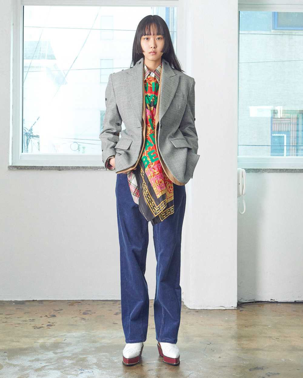 TWO PATTERN TWO-WAY JACKET