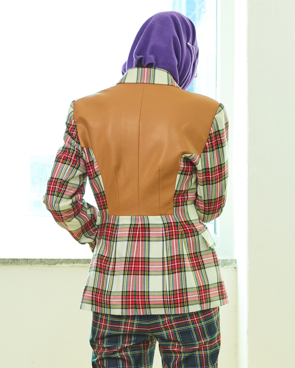 CAMEL LEATHER MIX CHECK JACKET