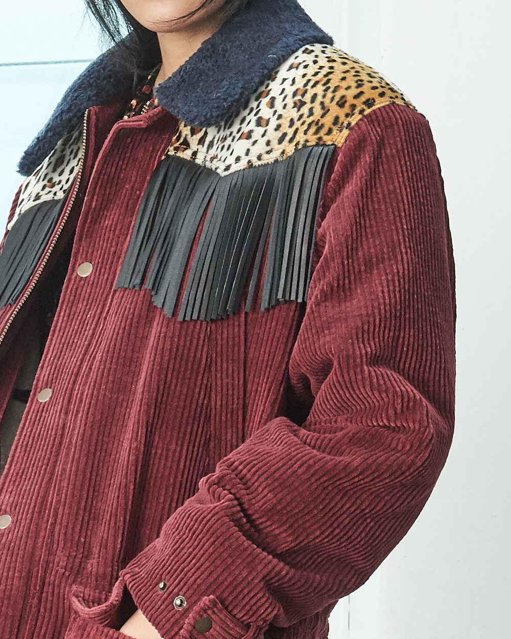 TASSLE MIX CORDUROY HALF COAT