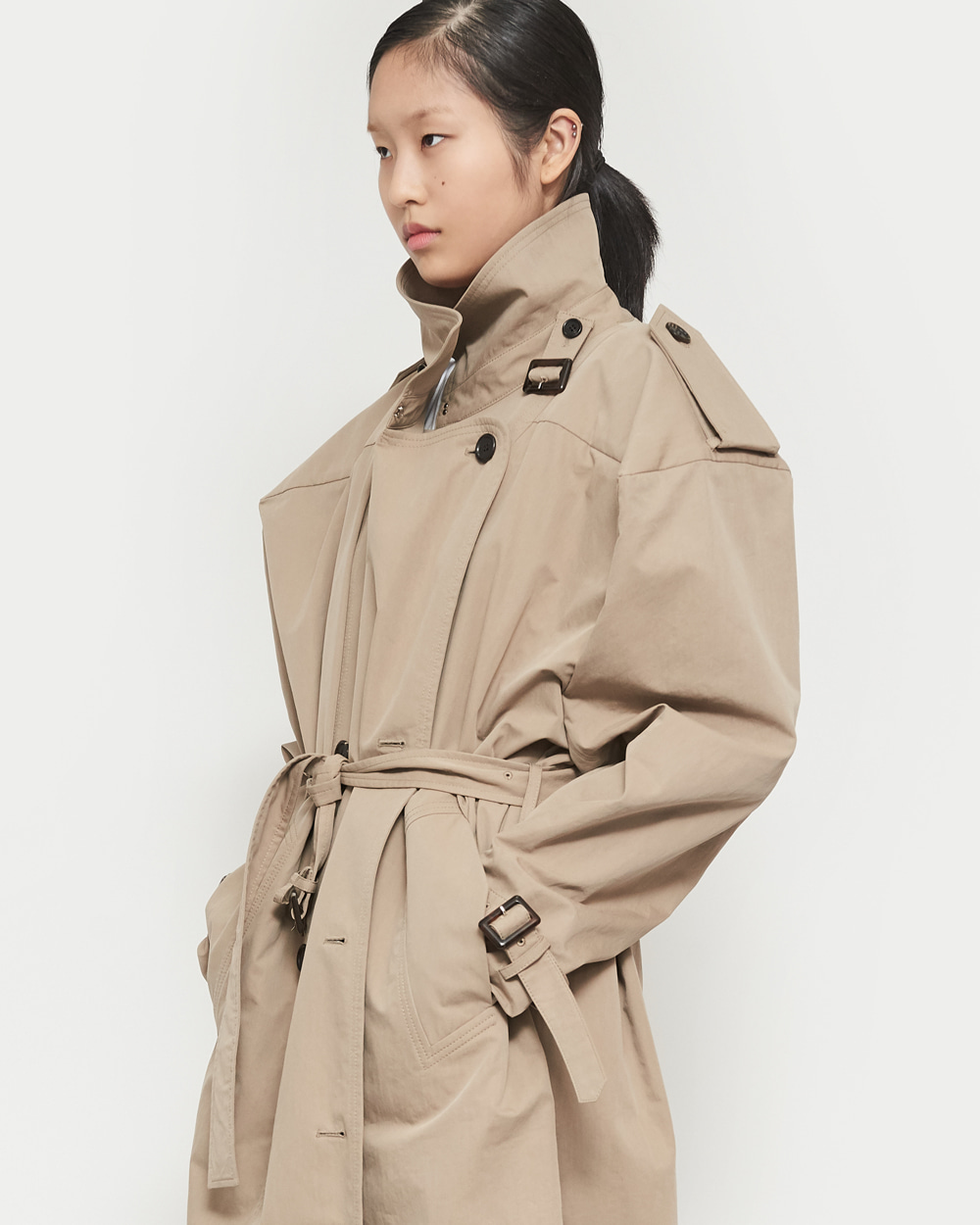 SS19 BOX SHOULDER TRENCH COAT