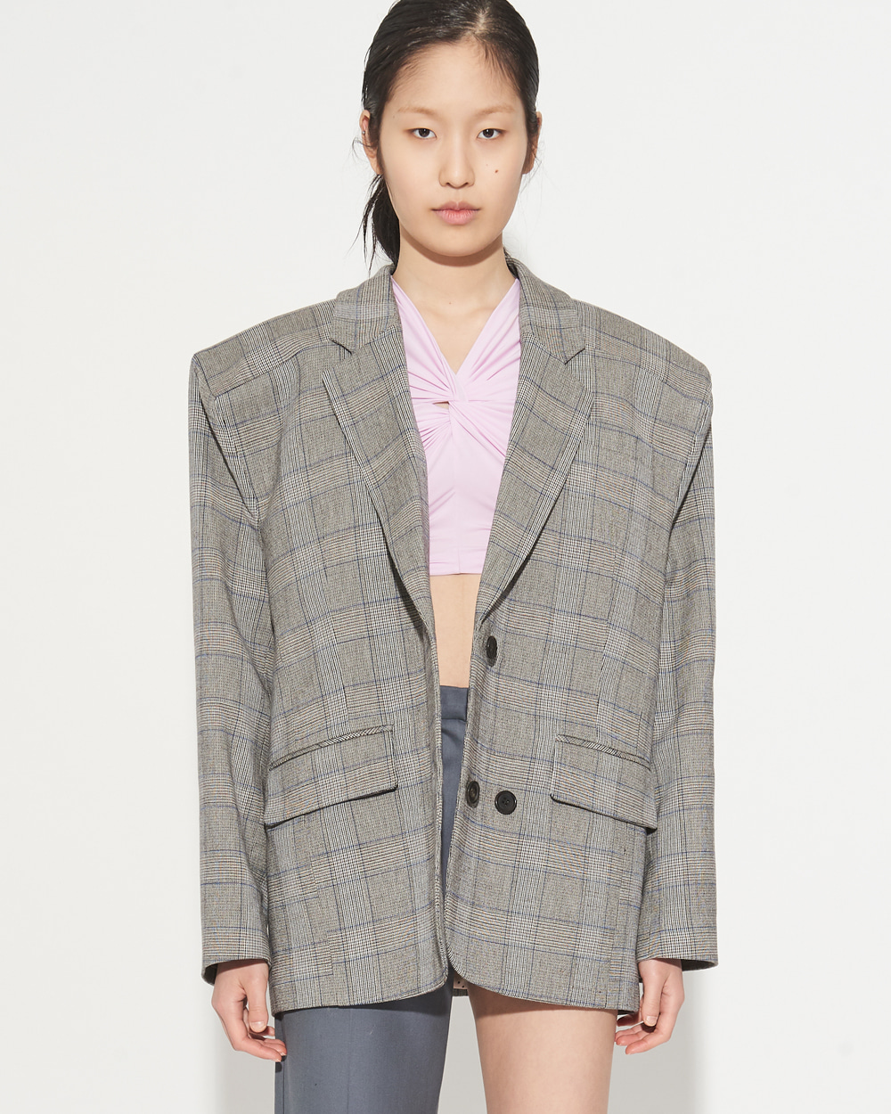 SS19 BOX SHOULDER CHECK JACKET