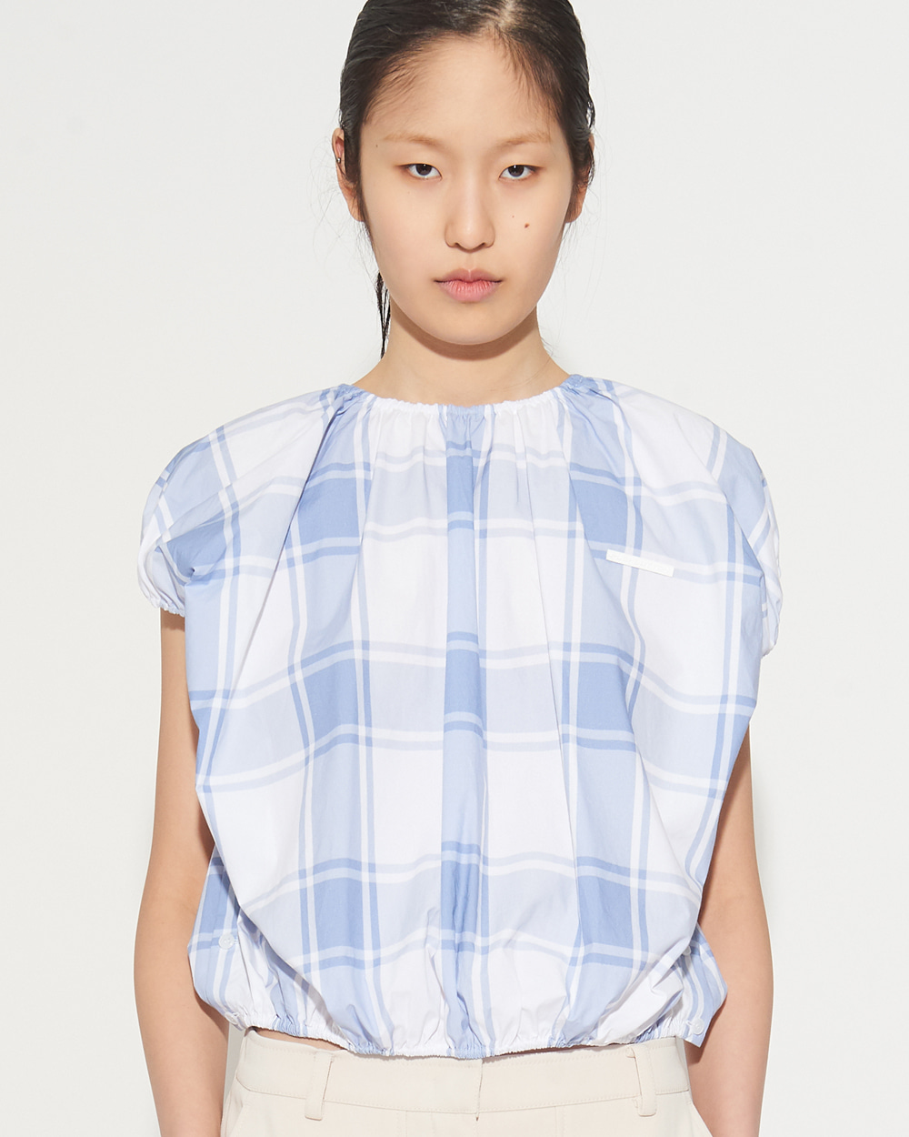SHIRRING CHECK VEST