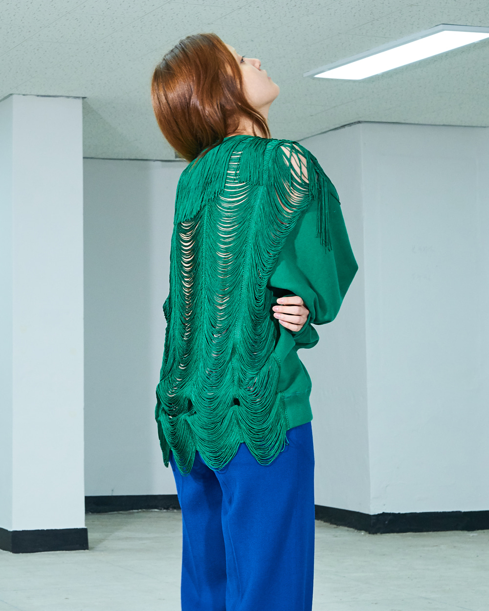 TASSELS-BACK SWEAT TOP