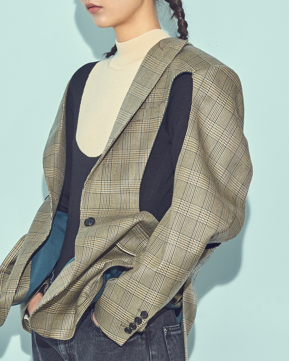 FW19 CUTOUT POINT SINGLE CHECK JACKET