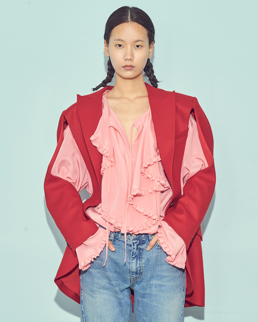 FW19 RUFFLED SILK BLOUSE
