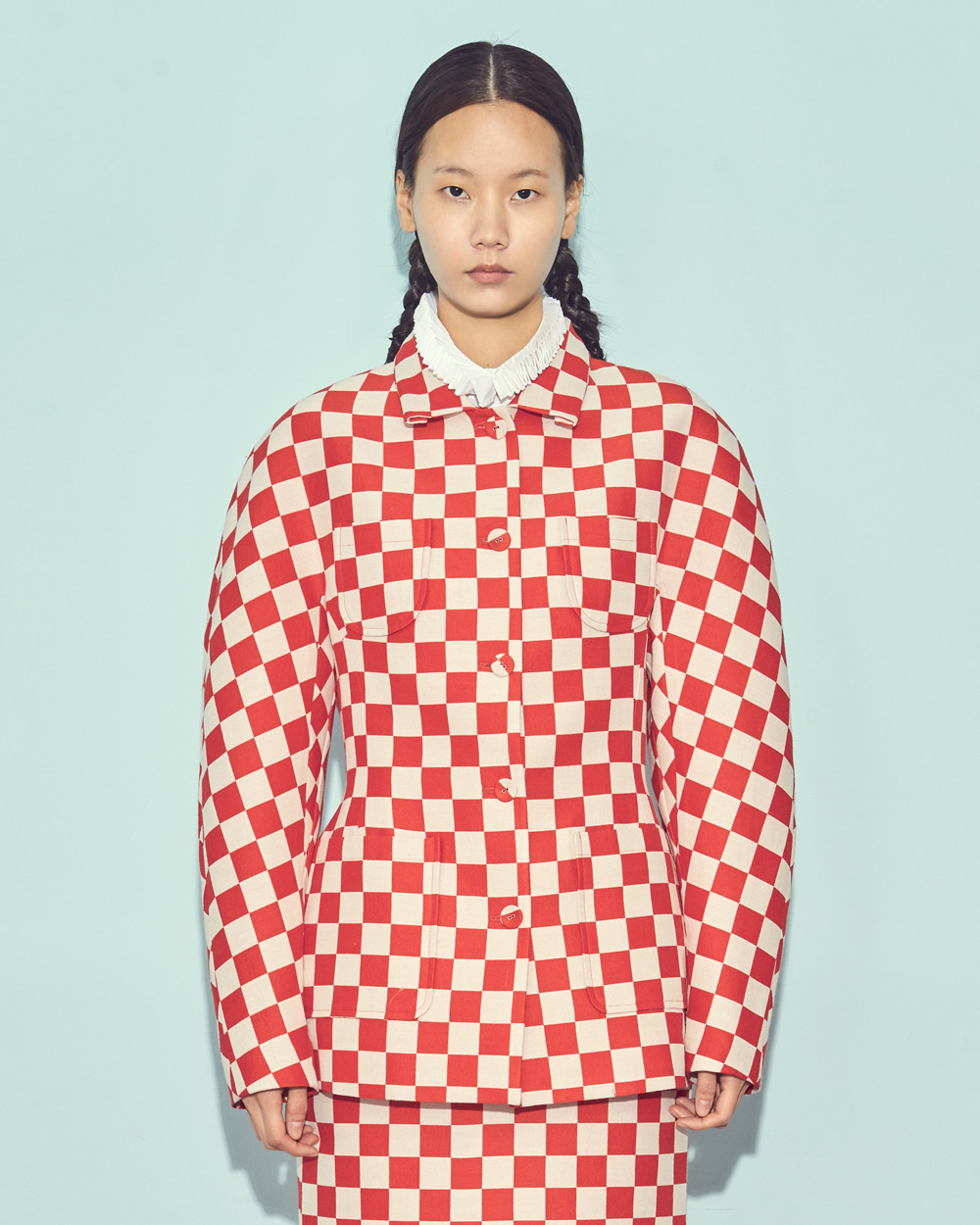 FW19 DOUBLE POCKET CHESS CHECK JACKET
